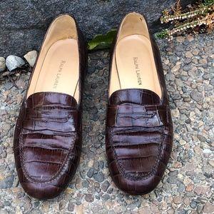 Ralph Lauren Brown Croc Embossed Leather Loafers